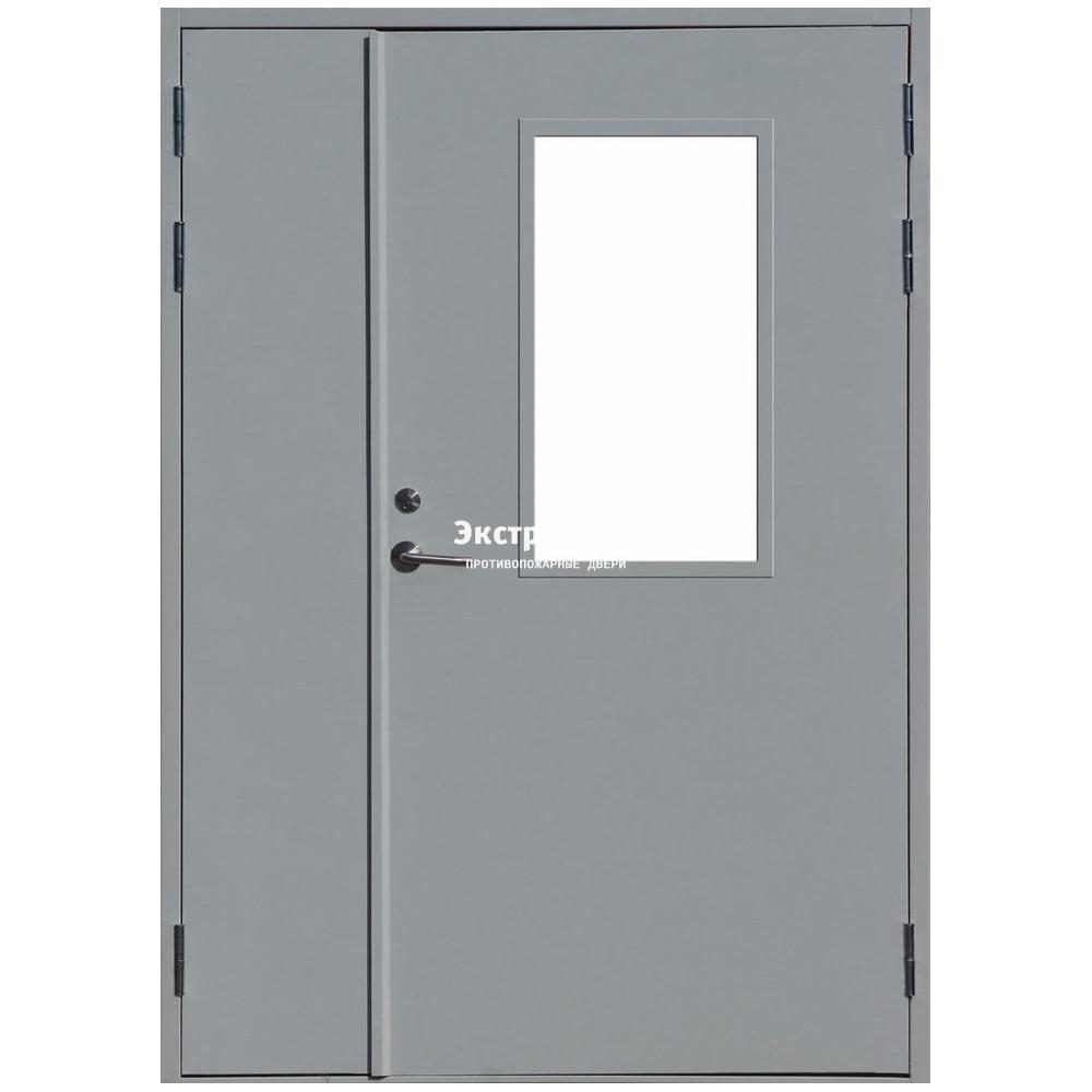 двери металлические с остеклением двустворчатые